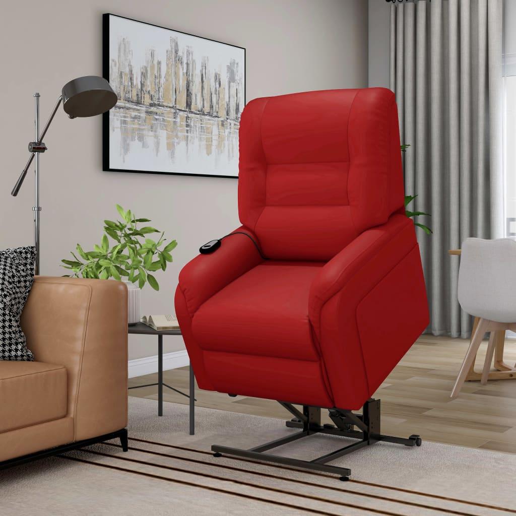 vidaXL Rozkładany fotel masujący, podnoszony, czerwony, sztuczna skóra