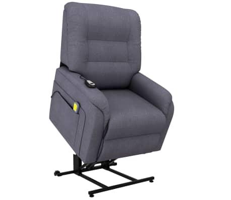 vidaXL Fotoliu TV electric rabatabil de masaj, gri închis, textil