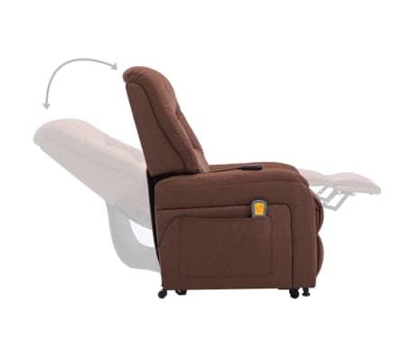 vidaXL Fauteuil inclinable de massage TV électrique Marron Tissu