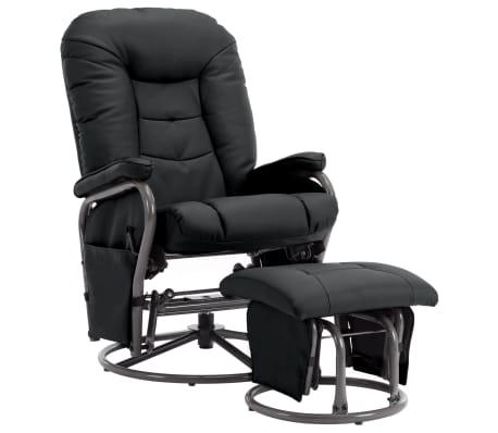 vidaXL Πολυθρόνα Ανακλινόμενη Μαύρη από Συνθετικό Δέρμα με Υποπόδιο