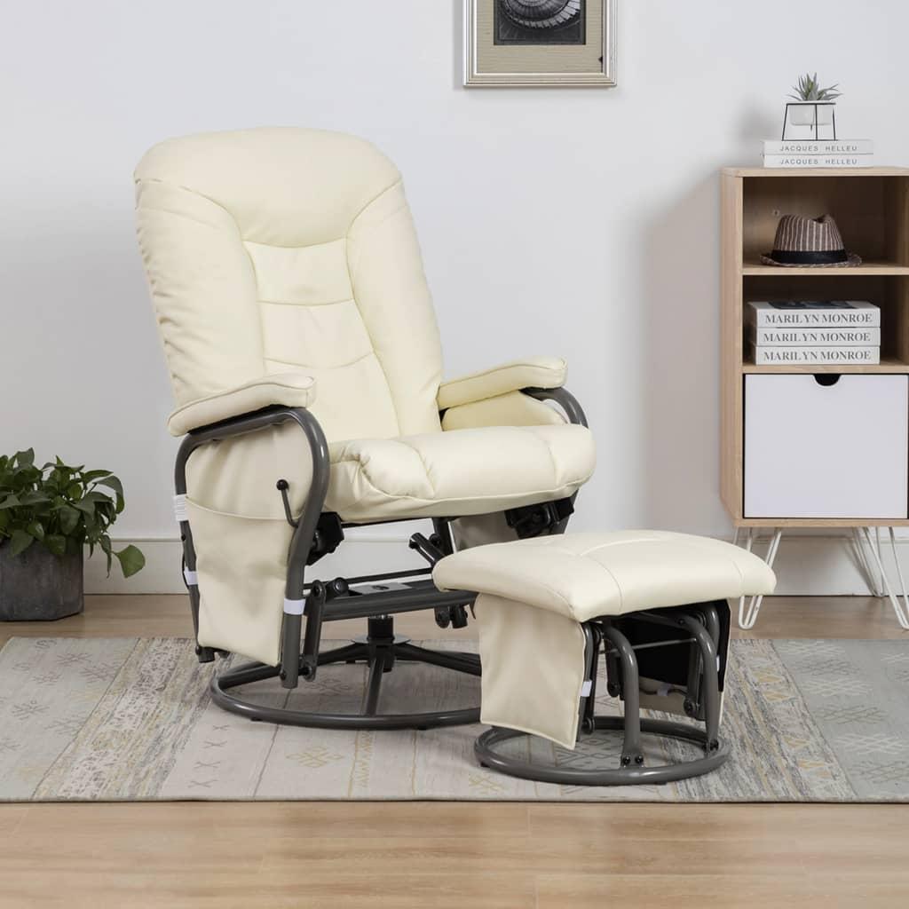 vidaXL Rozkładany fotel z podnóżkiem, kremowy, sztuczna skóra