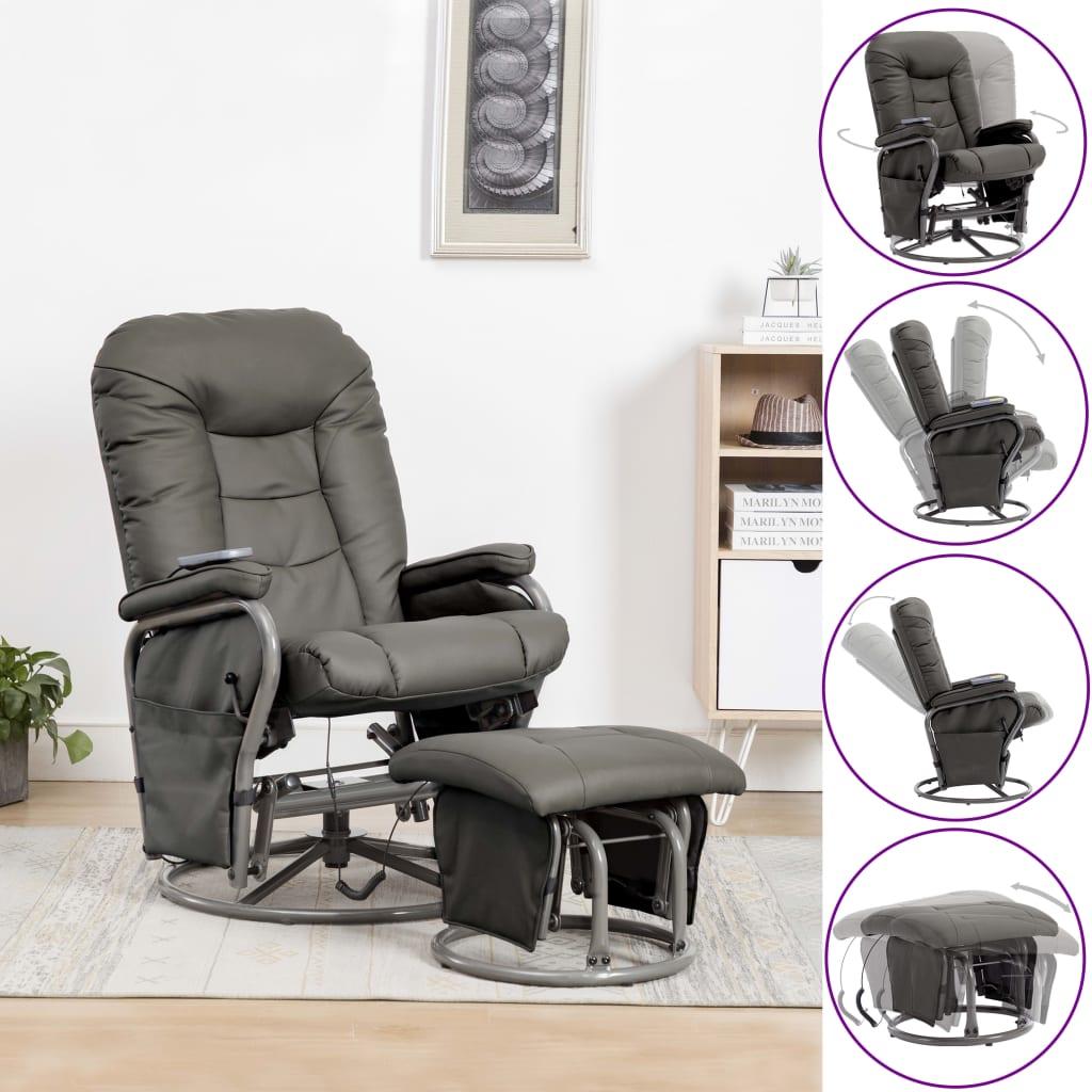 vidaXL Fotel do masażu z podnóżkiem, odchylany, szary, ekoskóra