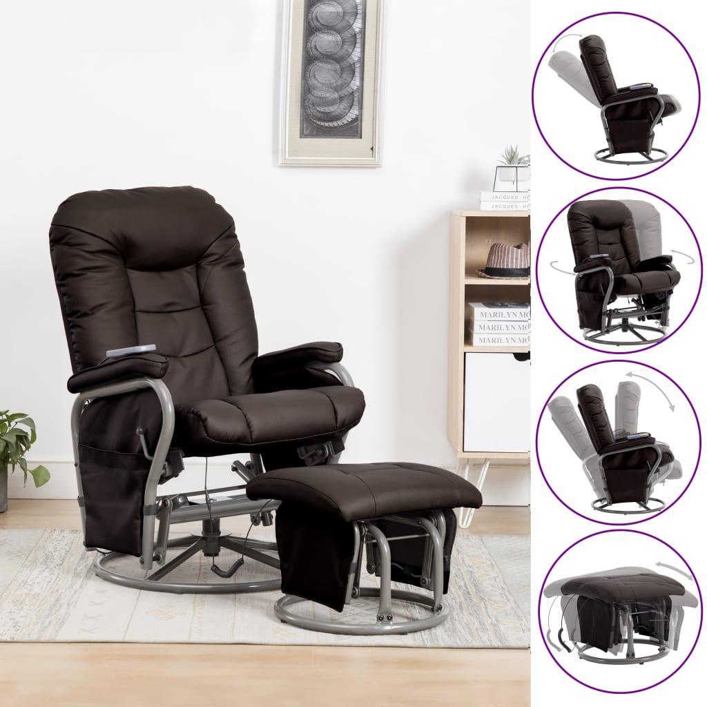 vidaXL Fotel do masażu z podnóżkiem, odchylany, brązowy, ekoskóra