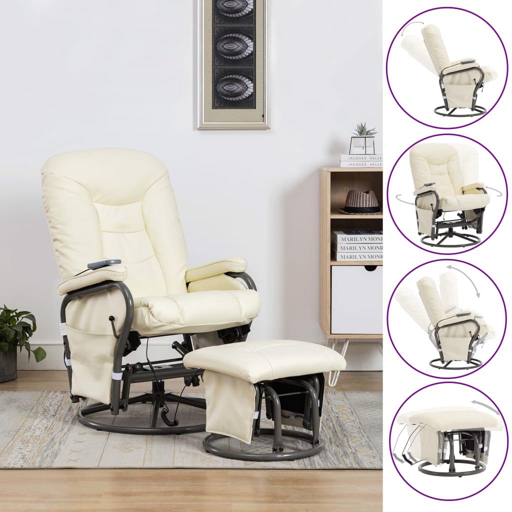 vidaXL Fotel do masażu z podnóżkiem, odchylany, kremowy, ekoskóra