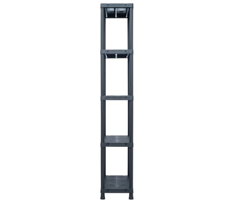vidaXL Opbergrekken 2 st 125 kg 60x30x180 cm kunststof zwart[5/9]