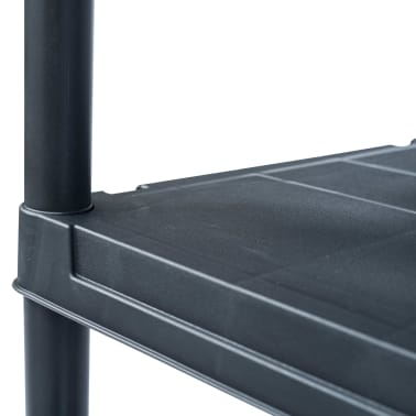 vidaXL Opbergrekken 2 st 125 kg 60x30x180 cm kunststof zwart[6/9]