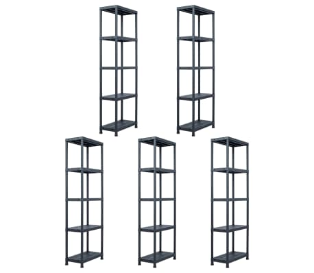 vidaXL Sandėliavimo lentynos, 5vnt., juod., 60x30x180cm, plast., 125kg[1/9]