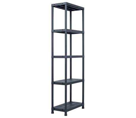 vidaXL Sandėliavimo lentynos, 5vnt., juod., 60x30x180cm, plast., 125kg[2/9]