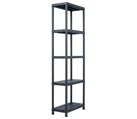 vidaXL Sandėliavimo lentynos, 5vnt., juod., 60x30x180cm, plast., 125kg[3/9]