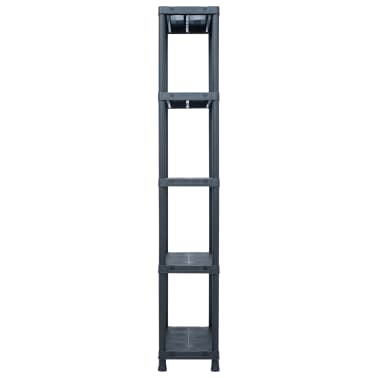 vidaXL Stojala s policami 5 kosov plastika 125 kg 60x30x180 cm črna[5/9]