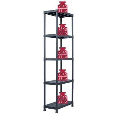 vidaXL Sandėliavimo lentynos, 5vnt., juod., 60x30x180cm, plast., 125kg[8/9]