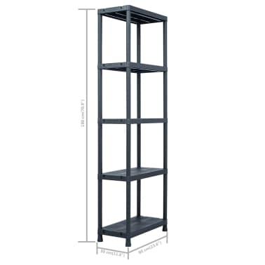 vidaXL Sandėliavimo lentynos, 5vnt., juod., 60x30x180cm, plast., 125kg[9/9]
