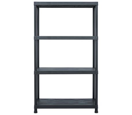 vidaXL Opbergrekken 2 st 200 kg 80x40x138 cm kunststof zwart[4/9]