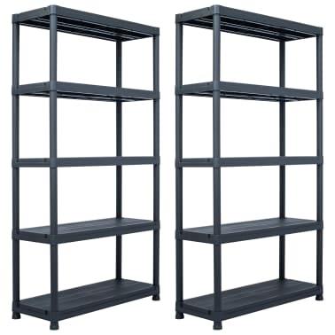 vidaXL Sandėliavimo lentynos, 2vnt., juod., 80x40x138cm, plast., 250kg[1/9]