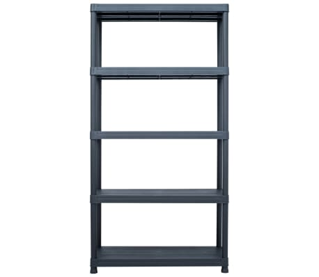 vidaXL Sandėliavimo lentynos, 2vnt., juod., 80x40x138cm, plast., 250kg[4/9]