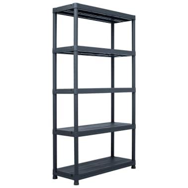 vidaXL Sandėliavimo lentynos, 2vnt., juod., 80x40x138cm, plast., 250kg[2/9]