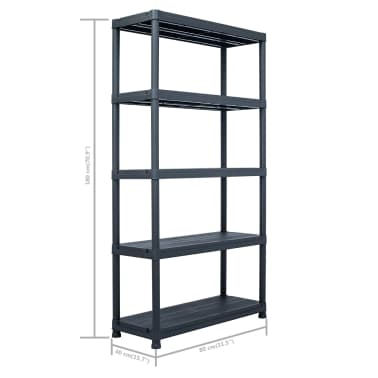 vidaXL Sandėliavimo lentynos, 2vnt., juod., 80x40x138cm, plast., 250kg[9/9]