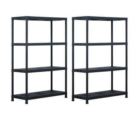 vidaXL Sandėliavimo lentynos, 2vnt., juod., 90x40x138cm, plast., 220kg[1/8]