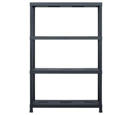 vidaXL Sandėliavimo lentynos, 2vnt., juod., 90x40x138cm, plast., 220kg[4/8]