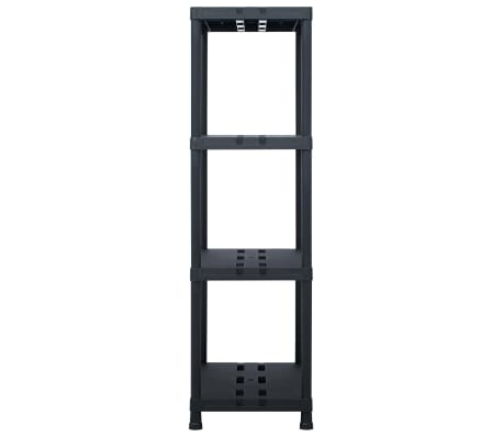 vidaXL Sandėliavimo lentynos, 2vnt., juod., 90x40x138cm, plast., 220kg[5/8]