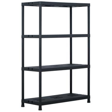 vidaXL Sandėliavimo lentynos, 2vnt., juod., 90x40x138cm, plast., 220kg[2/8]