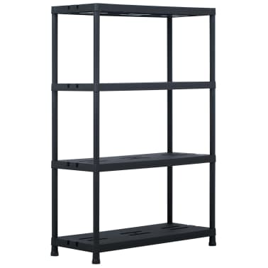 vidaXL Sandėliavimo lentynos, 2vnt., juod., 90x40x138cm, plast., 220kg[3/8]