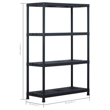 vidaXL Sandėliavimo lentynos, 2vnt., juod., 90x40x138cm, plast., 220kg[8/8]