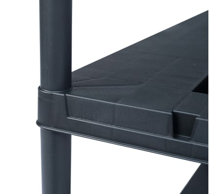 vidaXL Stojala s policami 2 kosa plastika 260 kg 90x40x180 cm črna[6/8]