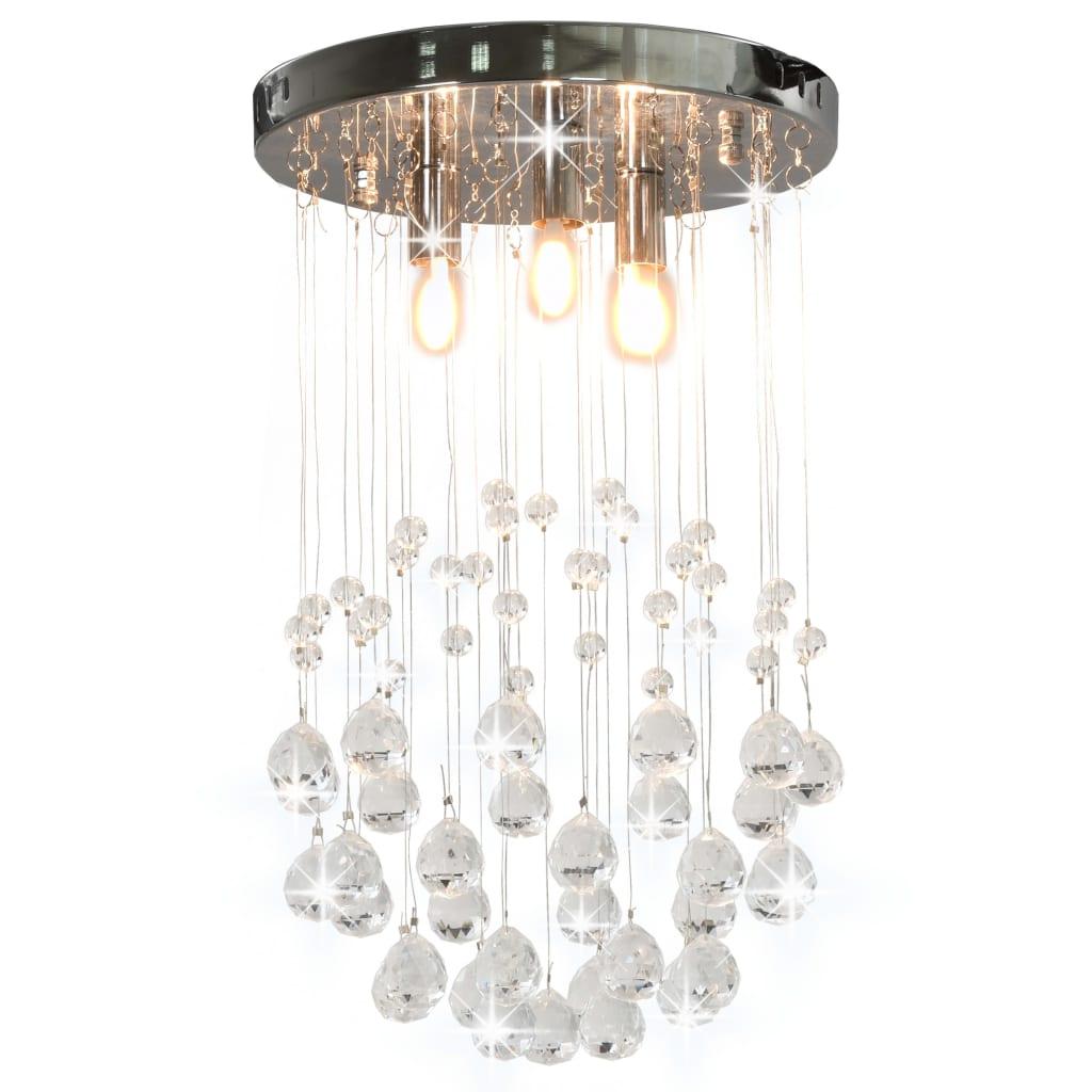 vidaXL Plafondlamp met kristallen kralen rond 3xG9 zilverkleurig