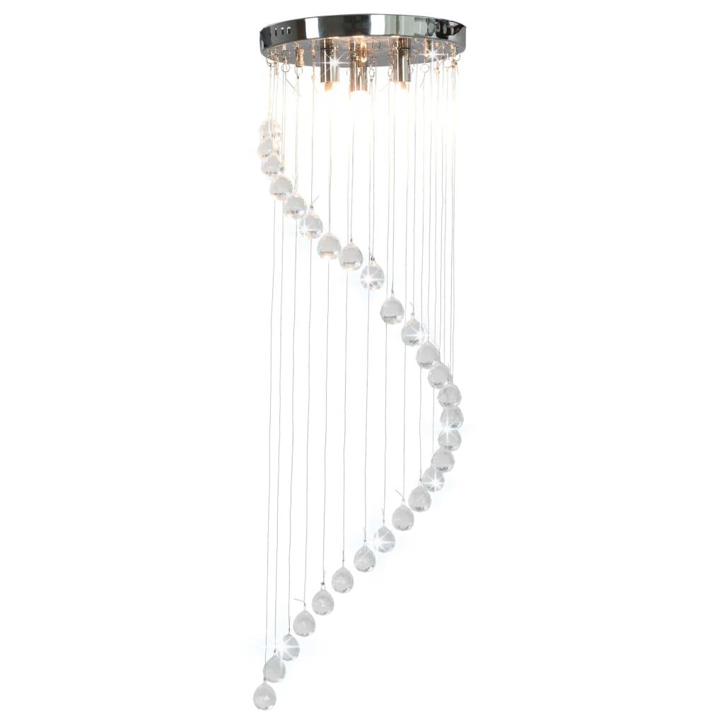 Stropní svítidlo s křišťálovými korálky stříbrné spirálové G9