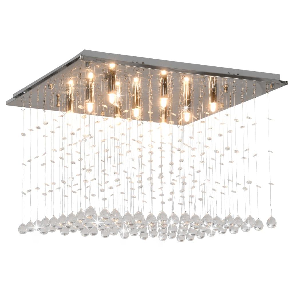 vidaXL Lustră cu mărgele de cristal, argintiu, cubic, G9 poza vidaxl.ro
