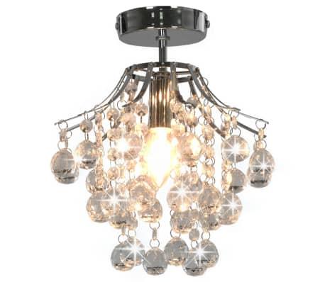vidaXL Lámpara de techo con cuentas de cristal plateado redonda E14