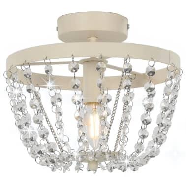 vidaXL Lámpara de techo con cuentas de cristal blanco redonda E14[1/8]