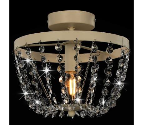 vidaXL Lámpara de techo con cuentas de cristal blanco redonda E14[4/8]