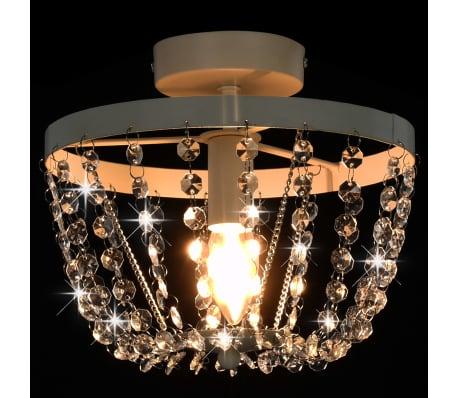 vidaXL Lámpara de techo con cuentas de cristal blanco redonda E14[5/8]
