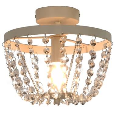 vidaXL Lámpara de techo con cuentas de cristal blanco redonda E14[2/8]