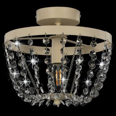 vidaXL Lámpara de techo con cuentas de cristal blanco redonda E14[3/8]