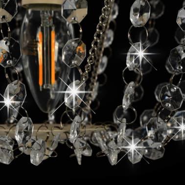 vidaXL Lámpara de techo con cuentas de cristal blanco redonda E14[6/8]