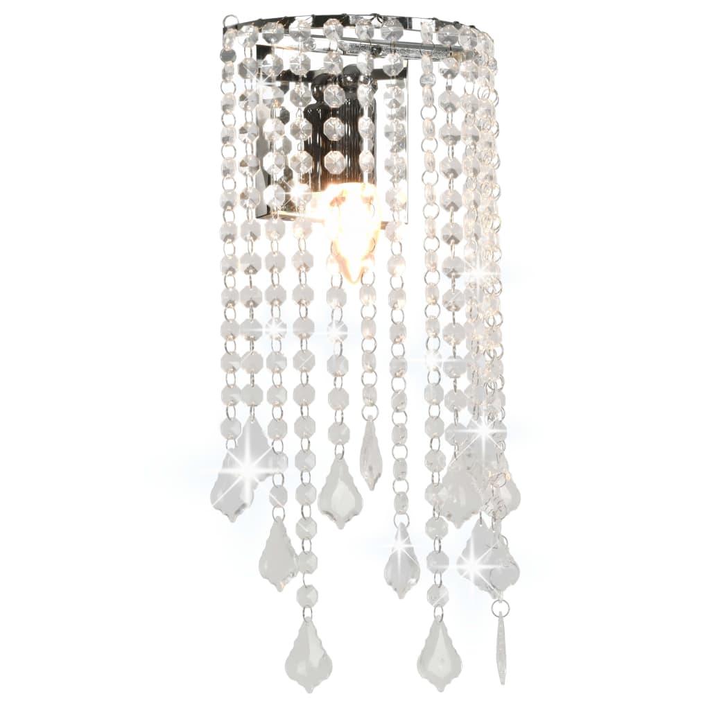 Nástěnná lampa s křišťálovými korálky stříbrná obdélníková E14