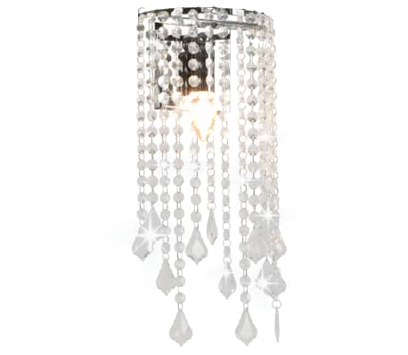 vidaXL Lámpara de pared con cuentas cristal plateado rectangular E14