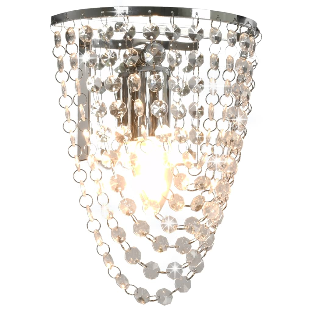 Nástěnná lampa s křišťálovými korálky stříbrná oválná E14