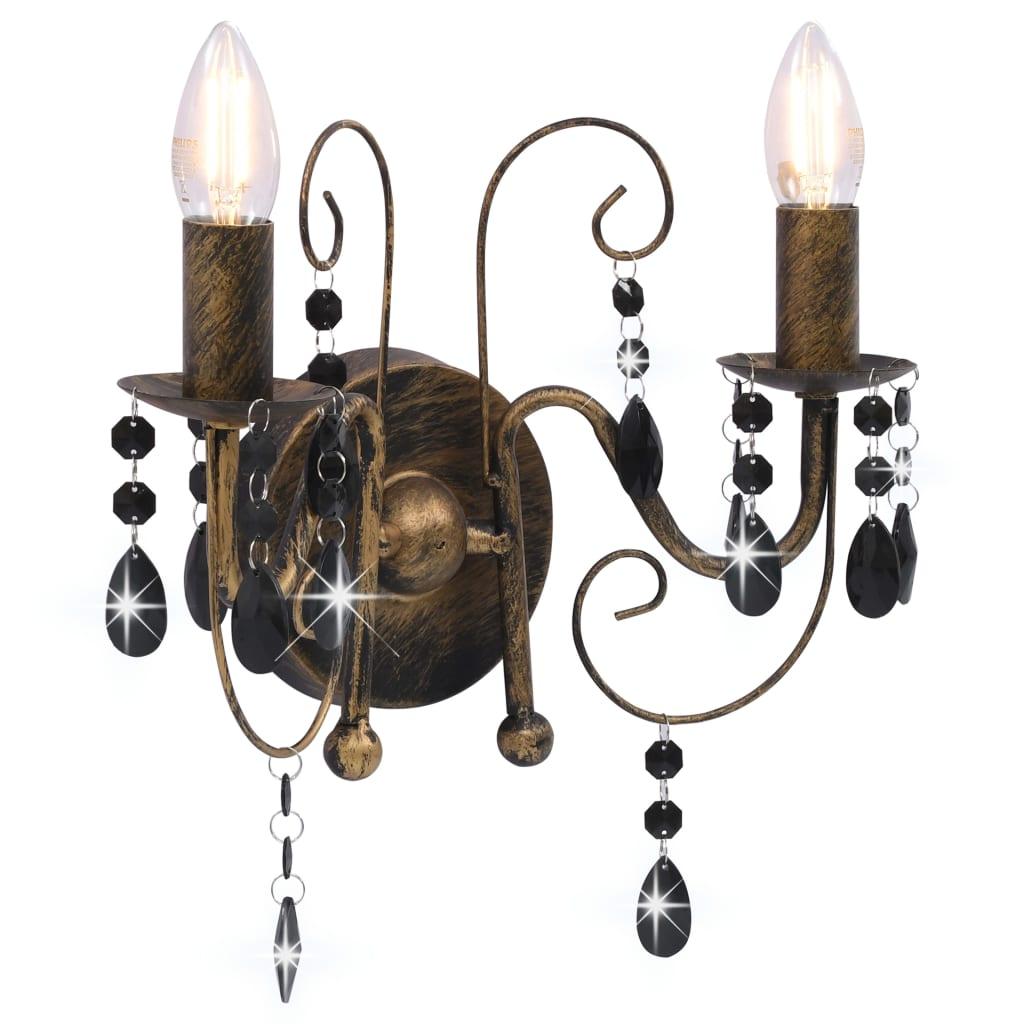 Comwinkel Wandlamp met kralen 2xE14 antiekzwart