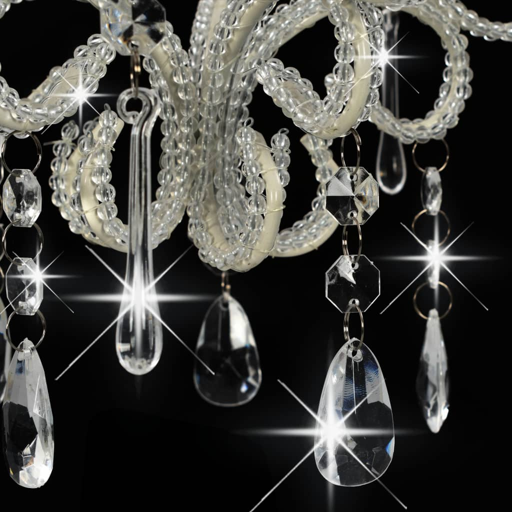 Plafondlamp met kralen rond E14 wit