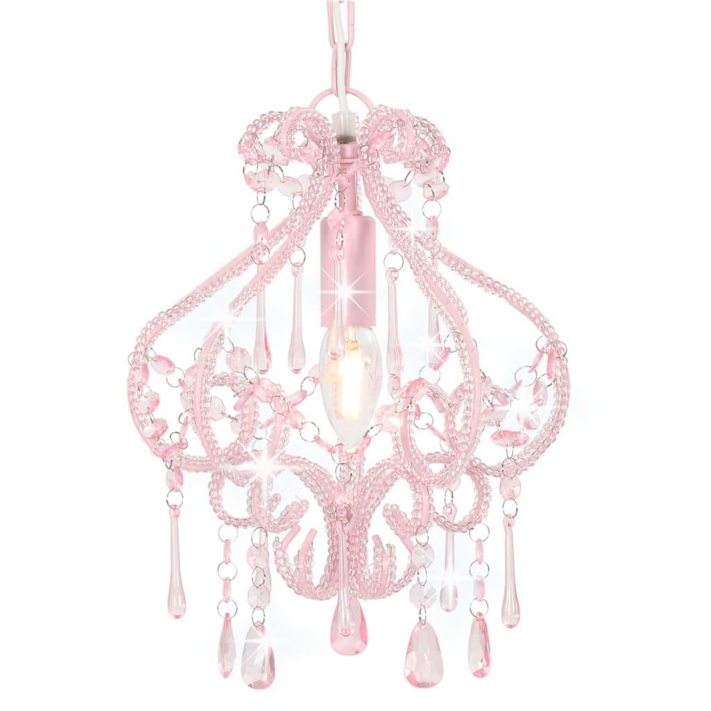 vidaXL Φωτιστικό Οροφής με Χάντρες Στρογγυλό Ροζ Ε14