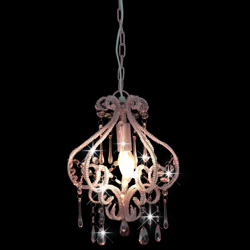 Plafondlamp met kralen rond E14 roze