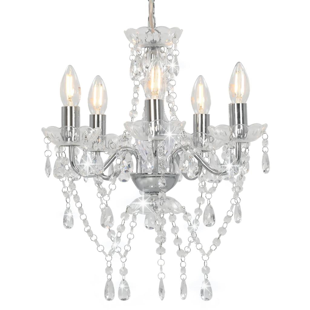 vidaXL Lustr s křišťálovými korálky stříbrný kulatý 5 x E14