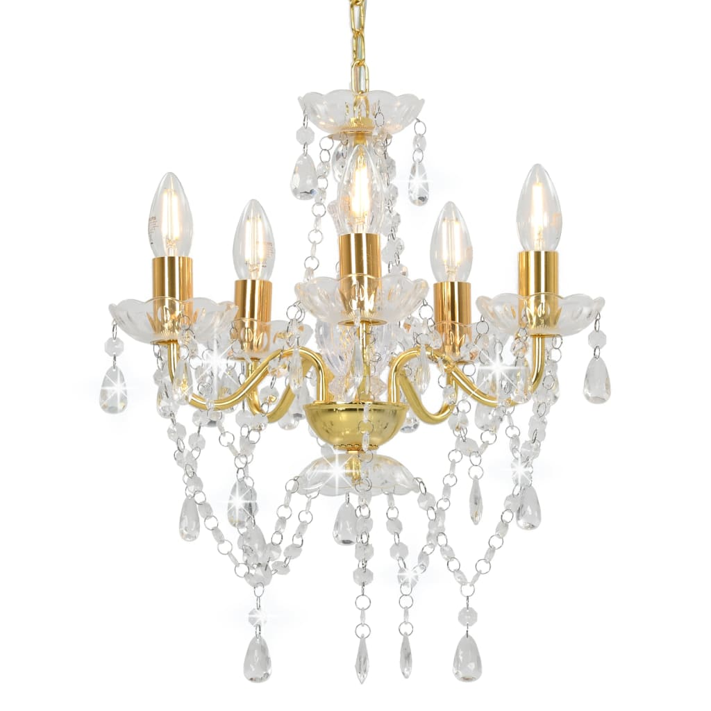vidaXL Candelabru cu mărgele de cristal, auriu, rotund, 5 x E14 poza vidaxl.ro
