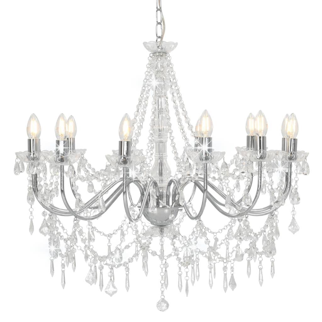 vidaXL Lustr s korálky stříbrný 12 x žárovky E14