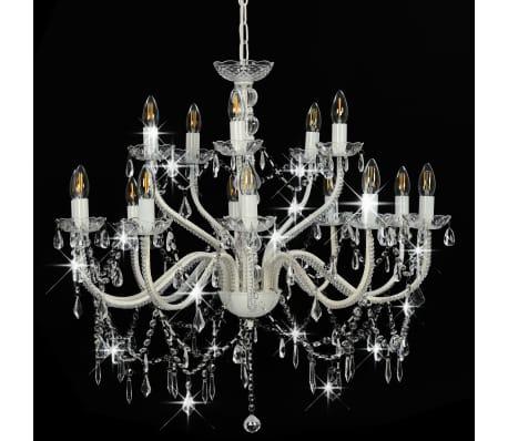 vidaXL Lustre 2 couches Blanc 15 ampoules E14[4/9]
