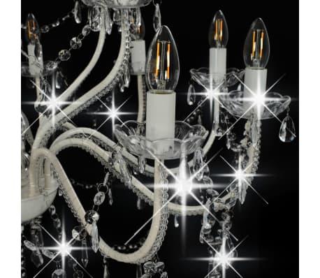 vidaXL Lustre 2 couches Blanc 15 ampoules E14[5/9]